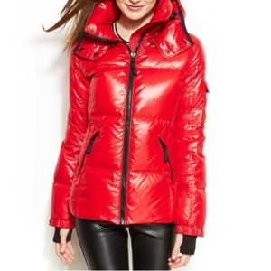 S13 Red Down Puffer Jacket Coat with Hood Kylie M
